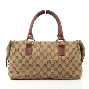 Auth Gucci Gg Hand Bag Canvas Leather #1574G90
